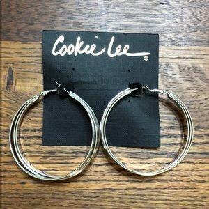 Cookie Lee Threaded Silver Hoops